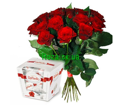 """17 roses and Raffaello"" in the online flower shop roza.ck.ua"