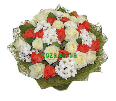 """Large bouquet of roses and chrysanthemums"" in the online flower shop roza.ck.ua"