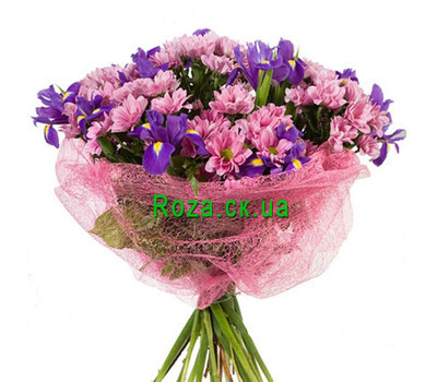 """Bouquet of irises and chrysanthemums"" in the online flower shop roza.ck.ua"