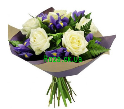 """Bouquet of irises and roses"" in the online flower shop roza.ck.ua"