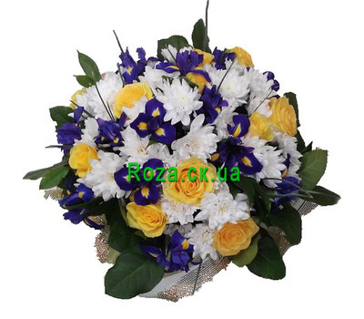 """Bouquet of irises, roses and chrysanthemums"" in the online flower shop roza.ck.ua"