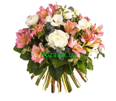 """Bouquet of alstroemerias and roses"" in the online flower shop roza.ck.ua"