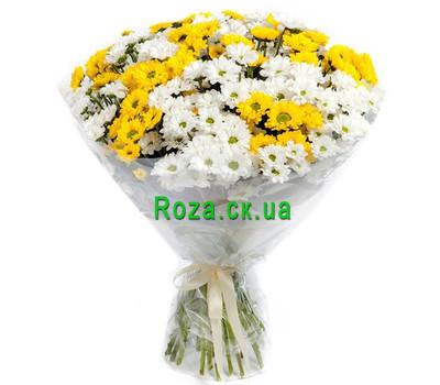 """""""Букет из белых и желтых хризантем"""" в интернет-магазине цветов roza.ck.ua"""