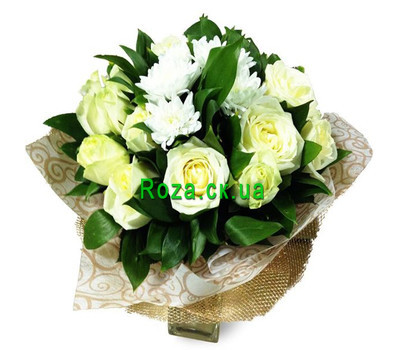 """Bouquet of white roses and white chrysanthemums"" in the online flower shop roza.ck.ua"