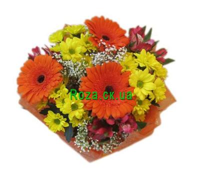 """Bouquet of chrysanthemums, alstromeries and gerberas"" in the online flower shop roza.ck.ua"