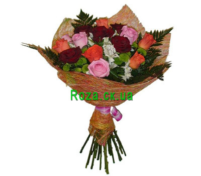 """Bouquet of chrysanthemums, alstromeries and roses"" in the online flower shop roza.ck.ua"