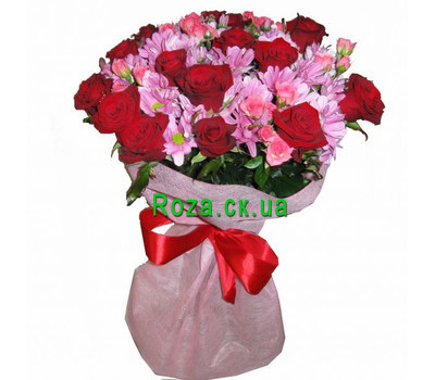 """Bouquet of chrysanthemums and roses"" in the online flower shop roza.ck.ua"