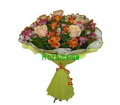"""Bouquet of roses and alstroemerias"" in the online flower shop roza.ck.ua"