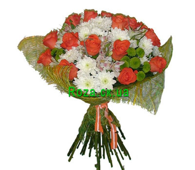 """Bouquet of orange roses and chrysanthemums"" in the online flower shop roza.ck.ua"