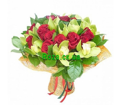 """""""Bouquet of orchids and roses"""" in the online flower shop roza.ck.ua"""