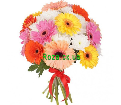 """Bouquet of different color gerberas and chrysanthemums"" in the online flower shop roza.ck.ua"