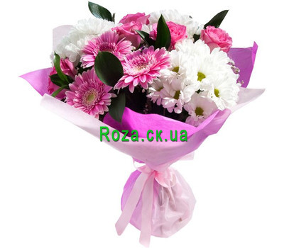 """Bouquet of roses, gerberas and chrysanthemums"" in the online flower shop roza.ck.ua"