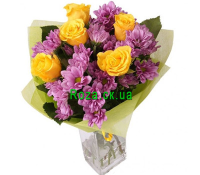 """""""Bouquet of yellow roses and pink chrysanthemums"""" in the online flower shop roza.ck.ua"""