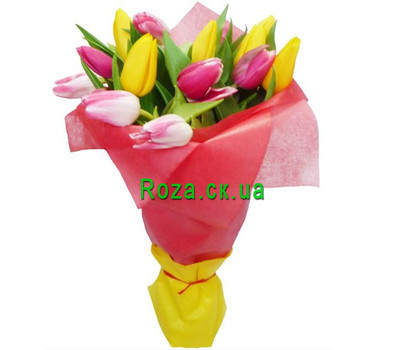 """Bouquet of tulips in the package"" in the online flower shop roza.ck.ua"