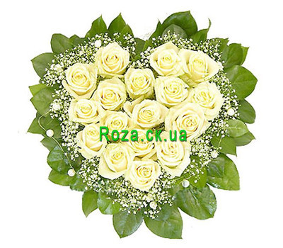 """Flowers in the form of heart with gypsophila"" in the online flower shop roza.ck.ua"