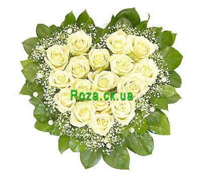 """""""Цветы в форме сердца с гипсофилой"""" в интернет-магазине цветов roza.ck.ua"""