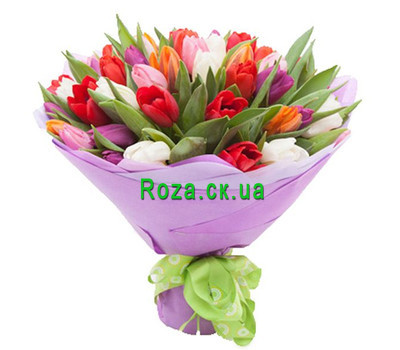 """Elegant bouquet of multi-colored tulips"" in the online flower shop roza.ck.ua"