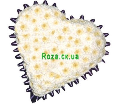 """Heart-shaped composition from chrysanthemums"" in the online flower shop roza.ck.ua"