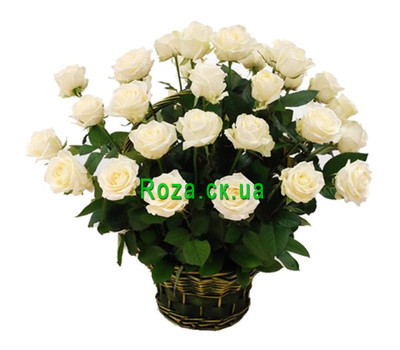 """Basket of white roses"" in the online flower shop roza.ck.ua"