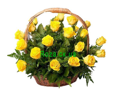 """Basket of yellow roses"" in the online flower shop roza.ck.ua"