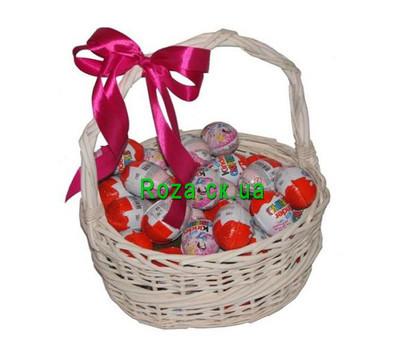 """""""A basket of kinder surprises"""" in the online flower shop roza.ck.ua"""