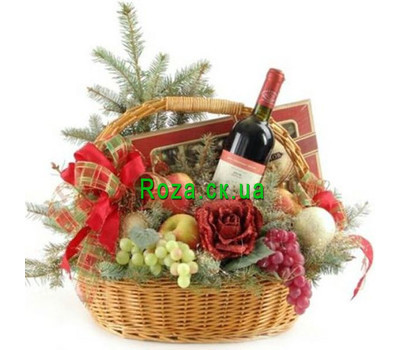 """""""Basket for the New Year"""" in the online flower shop roza.ck.ua"""
