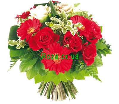"""Red and white bouquet"" in the online flower shop roza.ck.ua"