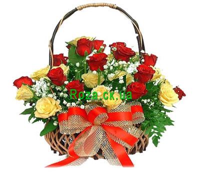 """Red Yellow Basket of Roses"" in the online flower shop roza.ck.ua"