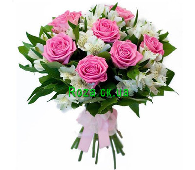 """Delicate bouquet of roses and alstromeries"" in the online flower shop roza.ck.ua"