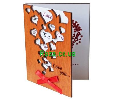 """""""Открытка из дерева love you"""" в интернет-магазине цветов roza.ck.ua"""