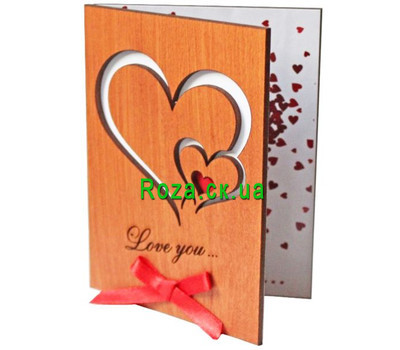 """Postcard from the tree Love you with hearts"" in the online flower shop roza.ck.ua"