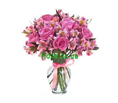 """""""Розовый букет из роз и альстромерий"""" в интернет-магазине цветов roza.ck.ua"""
