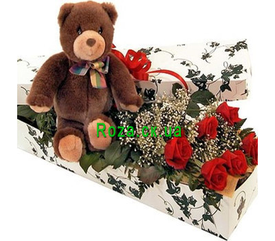 """Roses in a Box with a Bear"" in the online flower shop roza.ck.ua"