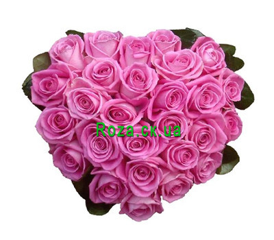 """""""Heart of flowers of pink roses"""" in the online flower shop roza.ck.ua"""