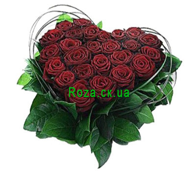 """""""Heart of 25 red roses"""" in the online flower shop roza.ck.ua"""