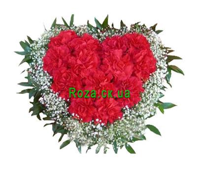"""""""Сердце из гвоздик"""" в интернет-магазине цветов roza.ck.ua"""