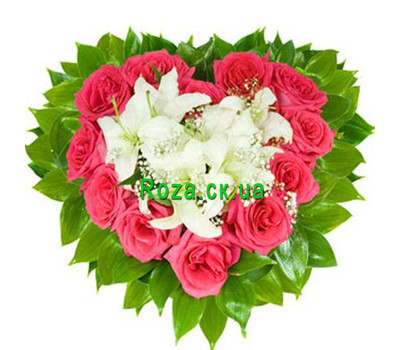 """Heart of lilies and roses"" in the online flower shop roza.ck.ua"