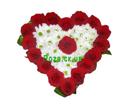 """Heart of roses and chrysanthemums"" in the online flower shop roza.ck.ua"