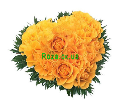 """Heart of yellow roses"" in the online flower shop roza.ck.ua"