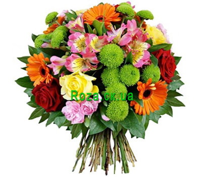"""""""Bright bouquet of flowers"""" in the online flower shop roza.ck.ua"""
