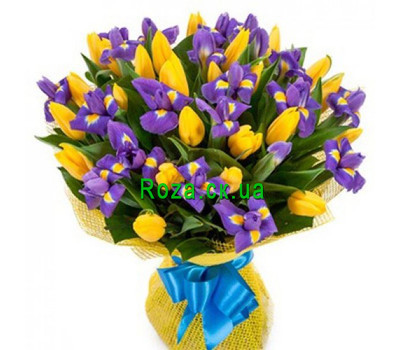 """""""Bouquet of irises and tulips"""" in the online flower shop roza.ck.ua"""