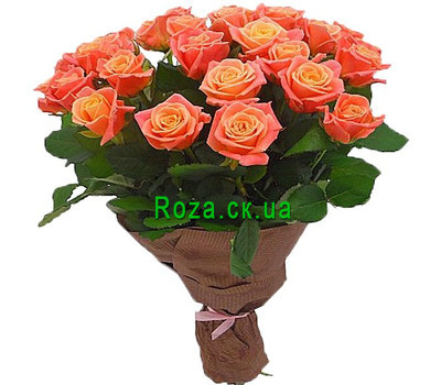 """25 peach roses"" in the online flower shop roza.ck.ua"