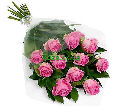 """Cascading bouquet of 11 pink roses"" in the online flower shop roza.ck.ua"