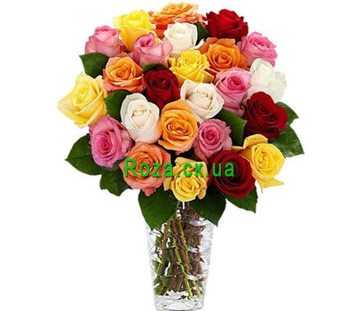 """25 multicolored roses"" in the online flower shop roza.ck.ua"