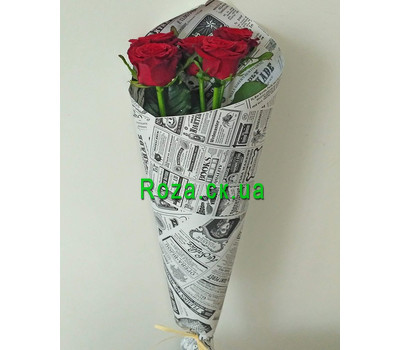 """5 red roses - 3"" in the online flower shop roza.ck.ua"