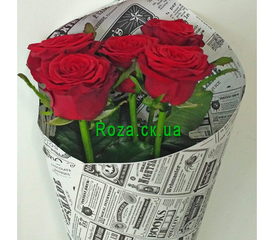 """5 red roses- 4"" in the online flower shop roza.ck.ua"