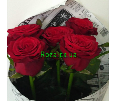 """5 red roses - 5"" in the online flower shop roza.ck.ua"