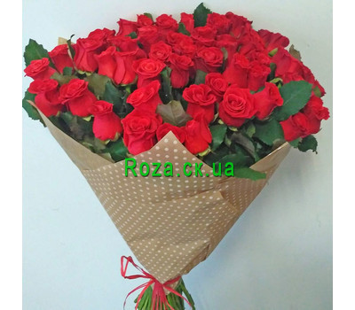 """""""51 roses and a bear 1"""" in the online flower shop roza.ck.ua"""