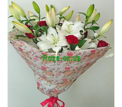 """""""Большой букет из лилий и роз - вид 1"""" в интернет-магазине цветов roza.ck.ua"""