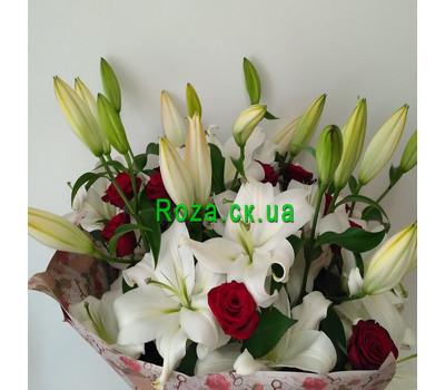 """""""Великий букет із лілій і троянд - вид 2"""" в интернет-магазине цветов roza.ck.ua"""